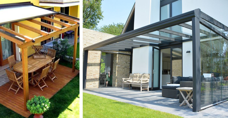 Design terrasoverkapping: glas of doek?